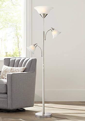 (Jordan Modern Torchiere Floor Lamp 3-Light Tree Brushed Steel Alabaster Glass Shades for Living Room Reading Bedroom Office - 360 Lighting)