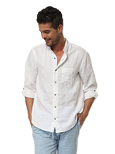 Chickle Men's Solid Long Sleeve Henley Button Down Linen Shirt XL White