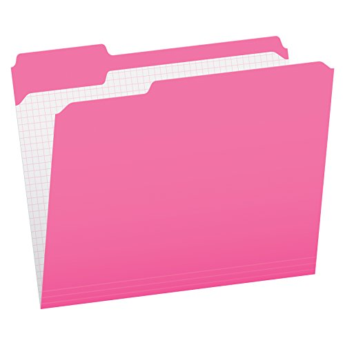 Pendaflex Color File Folders with Interior Grid, Letter Size, Pink, 1/3 Cut, 100/BX (R152 1/3 PIN) ()