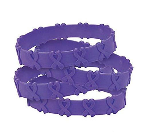 24 Purple Awareness Pop Out Bracelets