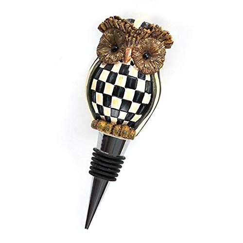 MacKenzie-Childs Hoot Owl Bottle Stopper Resin Wine Preserver Black White Courtly Check Beverages Saver Designer Gold Corks - 2'' Wide, 5'' Long, 1.5'' Deep by MacKenzie-Childs