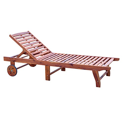 Outsunny Wooden Outdoor Folding Chaise Lounge Chair Recliner with Wheels - Teak - Outdoor Chaise Single