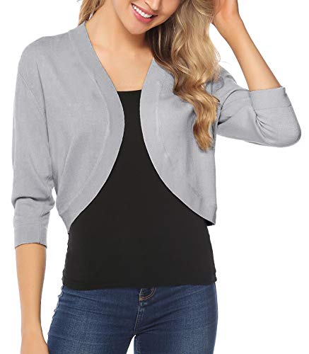 iClosam Women Open Front Cardigan 3/4 Sleeve Long Sleeve Cropped Bolero Shrug (Grey, Medium)