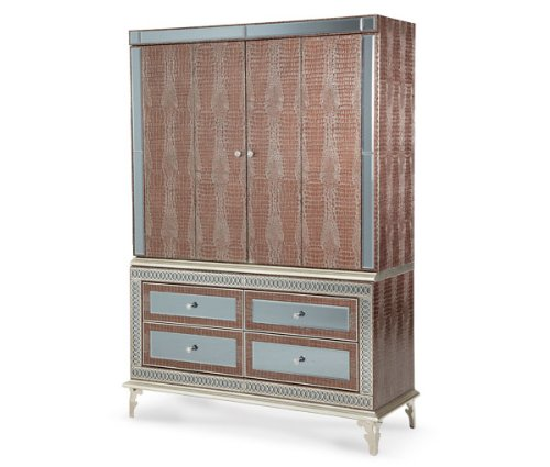AICO Hollywood Swank Amazing Gator Media Cabinet Entertainment Armoire by Michael Amini