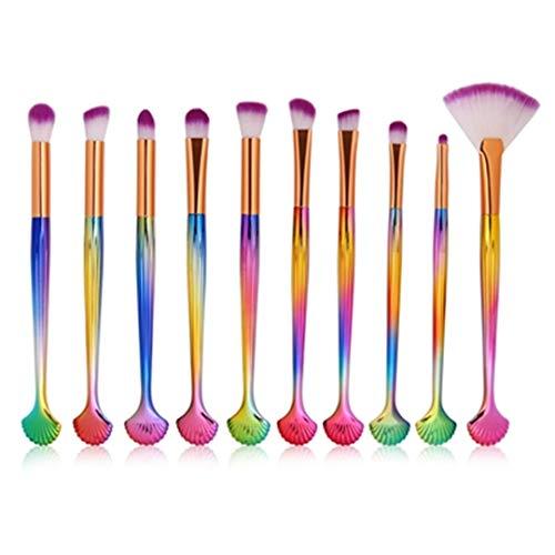 10 PCS Mermaid Makeup Brushes Set Foundation Blending Powder Maquiagem Contour Brush Concealer Pincel Sereia Pinceaux Maquillage 15