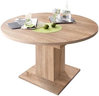 0588 Table Ronde 120 Cm En Imitation Chene Brut De Sciage Zip