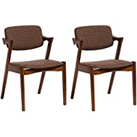 Baxton Studio Set of 2 Elegant Mid-Century Modern Scandinavian Style Fabric Upholstered Dining Armchairs, Dark Walnut