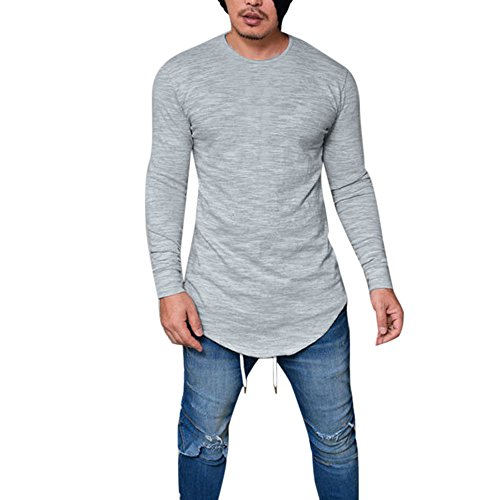 Realdo Clearance Sale,Mens Casual Slim Fit O Neck Long Sleeve Muscle Tee T-Shirt Casual Tops Blouse (Medium,Grey)