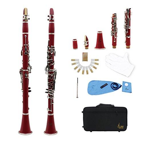 Homyl Lade 17 Keys BB Clarinet Piezas de Instrumento Musical para Amantes Música - Rojo