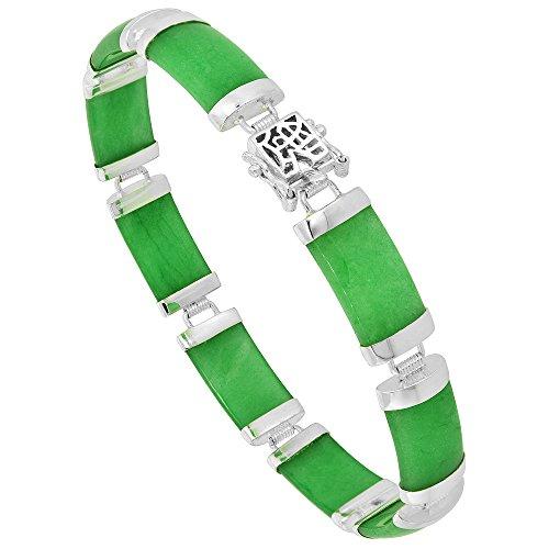 Sterling Silver Dyed Green Jade Link Bracelet Rectangular 3/8 inch wide, 8 inch long