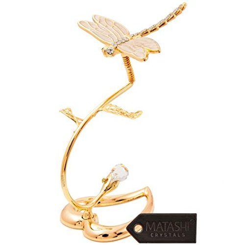 24K Gold Plated Crystal Studded Dragonfly On A Flower Stem Ornament by Matashi