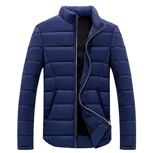 (GOTD Men Winter Zipper Jacket with Pocket Cotton Padded Stand Collar Coats Down Lightweight Outwear Tops Leisure Outdoor Sport Wear (L, Blue) )