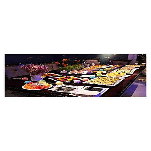 Leighhome Background Fish Tank Sticker A Dessert Buffet Table PVC Paper Cling Decals Sticker L29.5 x H17.7 ()