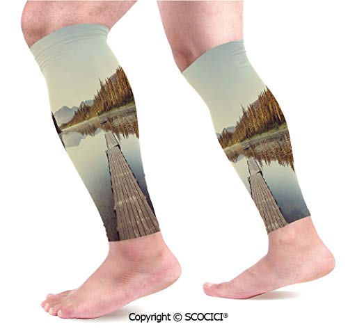 Flexible Breathable Comfortable Leg Skin Protector Sleeve Wooden Pier on The Lake Serene Morning in The Woods Fishing Misty Recreational Image Calf Compression Sleeve