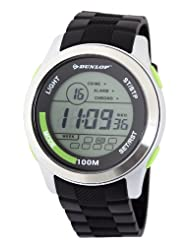 Dunlop Unisex Digital Watch with LCD Dial Digital Display and Black Plastic or PU Strap DUN-204-G12