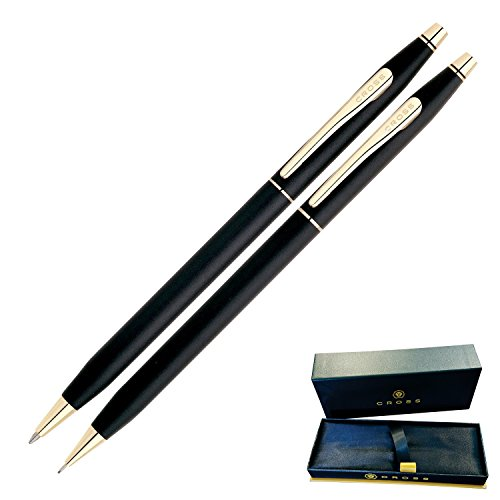Dayspring Pens - Engraved / Personalized Cross Classic Century Black Pen and Pencil Set, Gold Trim 250105. Custom Engraved Fast! (Engraved Pen Pencil Sets)