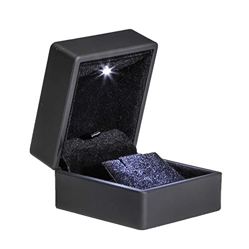 Noble Black Light LED Single Earring Jewelry Box Deluxe for Engagement, Proposal or Special Occasions