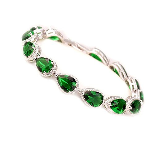Kaxima Adjustable Sterling Silver Bangle Bracelet, triple-A water droplet zircon inlay hand ornaments, Lady Hand series ()