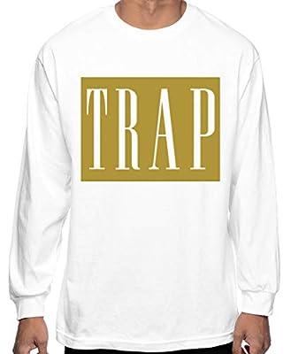 CaliDesign Men's White Gold Trap Long Sleeve T Shirt Plug Hustle Hard Migos XXX