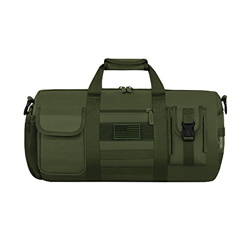 (East West U.S.A RTD703M Tactical Digital Camo Heavy Duty Round Duffel Bag, Olive)