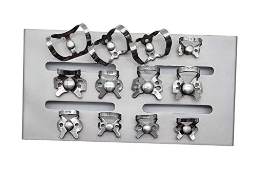 (Rubber Dam Clamps Set of 12 with autoclavable mounting Stand Rack by ARTMAN)