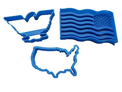 Patriotic Eagle, USA Outline and Flag Cookie Cutters (3 Pack)
