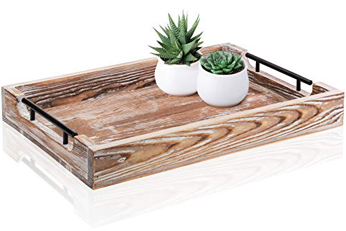 """Large Ottoman Tray with Handles - 20""""x14"""" - Coffee Table Tray - Rustic Tray for Ottoman - Wooden Trays for Coffee Table - Wooden Serving Trays for Ottomans - Ottoman Trays Home Decor - Farmhouse Tray"""