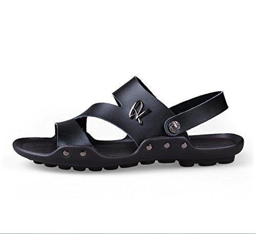 航海の使役言い聞かせるメンズレザーサンダルファッション汗吸汗通気性二つの摩耗スリッパサンダル夏のアウトドアハイキング登山カジュアルな運転靴のサンダルZHANGM