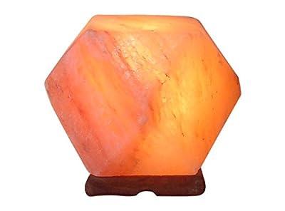 [Hand Crafted] HemingWeigh All Natural Himalayan Crystal Salt Rock Hexagon Lamp with Wood Base