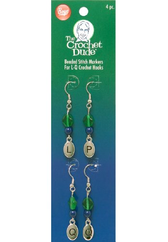 Boye Crochet Dude Beaded Stitch Markers, L, P and Q Crochet Hook Sizes