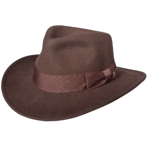 Indiana Jones Men's Water Repellent Wool Felt Fedora, Brown, Large]()