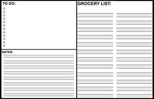 "Magnetic Dry Erase White Board 17"" x 11"" - dry erase board - refrigerator message board - notes with a to do list and a section for a grocery list."