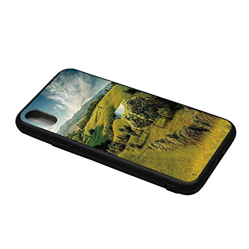 Green Printing Compatible with iPhone X Case,Scenic Scenery Hilly Landscape with Lake and Blue Cloudy Sky Trees Meadow Countryside for iPhone X Case,iPhone X
