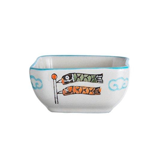 Flow Blue Soup Bowl - Creative Bowl Japanese Seasoning Bowl Household Vinegar Bowl Personality Sauce Bowl Seasoning Bowl Snack Bowl (PATTERN : Blue swordfish)