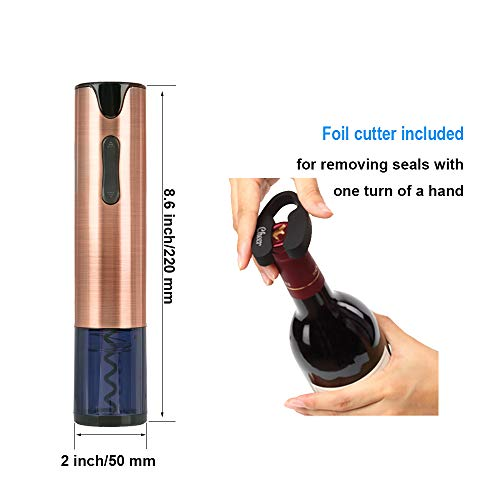 Electric Wine Opener Rechargeable Corkscrew Bottle Opener with Foil Cutter Stainless Steel Materials (Rose Gold) by FLASNAKE (Image #4)