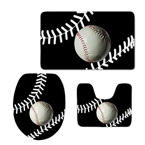 (HUGS IDEA 3 PCS Bathroom Rug Mats Sports Baseball Prints Non Slip Bath Mat/Lid Toilet Cover/Contour Rug)