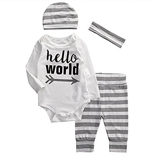 Baby Boys Girls Long Sleeve Hello World Bodysuit and Striped Pants Outfit with Hat Headband (70 (0-6 (Show Girl Outfits)