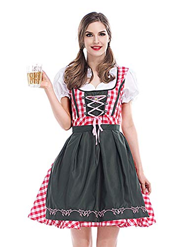 (GRACIN Women's German Oktoberfest Dirndl Beer Maid Fancy Dress Halloween Costume (Large,)