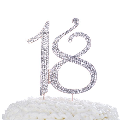 (Ella Celebration 18 Cake Topper for 18th Birthday or Anniversary Rhinestone Number Party Decoration Supplies & Ideas (Rose)