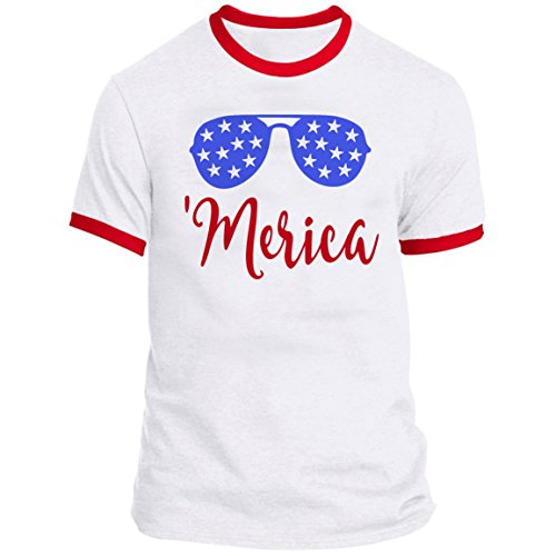 July Ringer T-shirt - 21 THREADS 4th of July Ringer Shades Merica Holiday T-Shirt