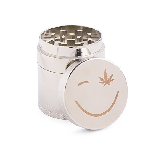 Creative Jet Herb Spice Weed Grinder with Pollen Scraper, 5 Piece 1.8 Inch Zinc Alloy. Peace of Mind During Emergencies! (Silver)