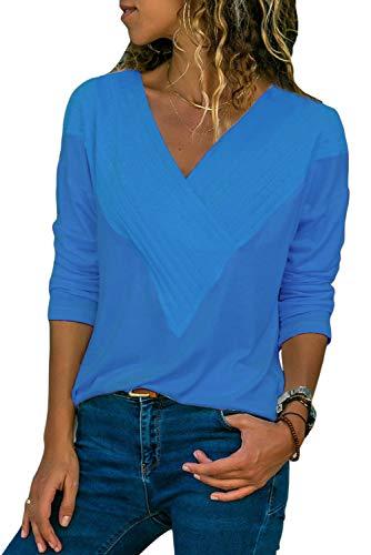 Women Long Sleeved Tops -Cute V Neck Casual Knit Shirts Blouses Blue Tunics ()
