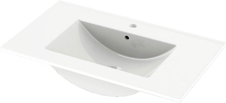 81 x 91 x 46 cm Gris Vasque c/éramique Meuble 2 tiroirs Randalsa Meuble Happy 80 cm