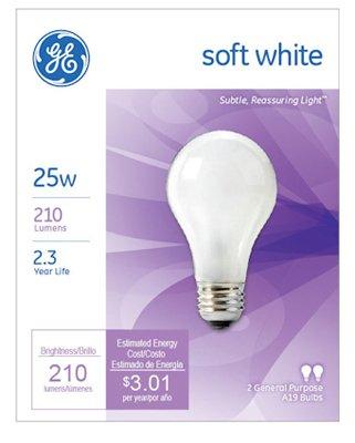 Ge Soft White Light Bulbs 25 W 210 Lumens A19 Med Base 4-1/4 In. Pack / 2 A19 Med Base