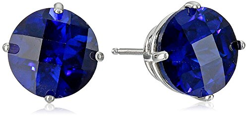 (10k White Gold Round Checkerboard Cut Created Sapphire Stud Earrings (8mm))