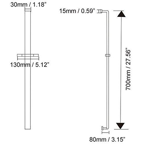 JiaYouJia Solid Brass Adjustable Wall Mount Square Slide Shower Bar in Chrome