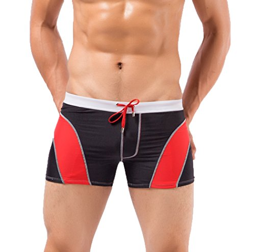 TSin Men's Summer Sports Breathable Swimming Underwear Comfortable Trunks(Black Size L)