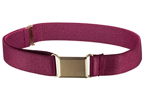 Square Buckle Belt (Kids Elastic Adjustable Strech Belt With Silver Square Buckle - Burgundy)