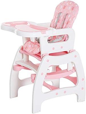 3 en 1 Sillita Trona Mecedora Balancin Bebe Convertible Multifuncional Infantil Color Rosa
