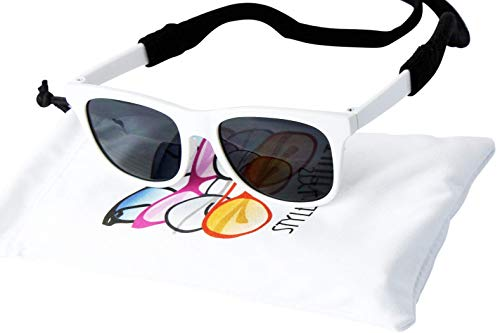 G013 Pet Dog retro 80s Sunglasses Goggles w retainer strap for medium breeds 20-60lbs (80s White) from Style Vault